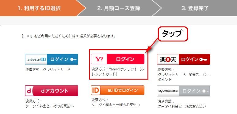 Yahoo!IDを選択する画面