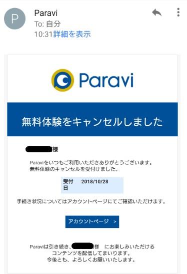 Paravi解約完了メール