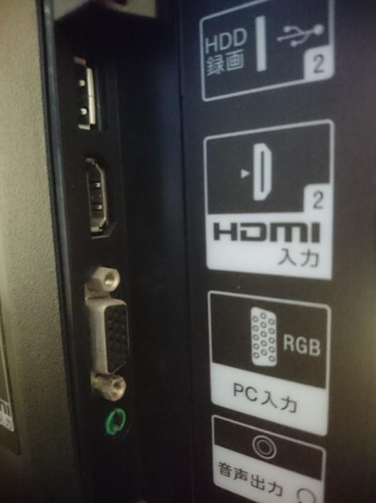 テレビの裏にあるHDMI接続端子