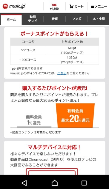 music.jpのポイント還元率